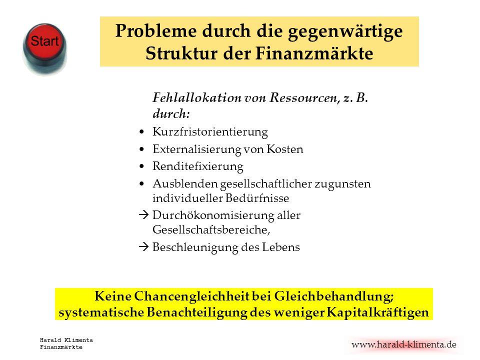 www.harald-klimenta.de Harald Klimenta Finanzmärkte Fehlallokation von Ressourcen, z. B. durch: Kurzfristorientierung Externalisierung von Kosten Rend