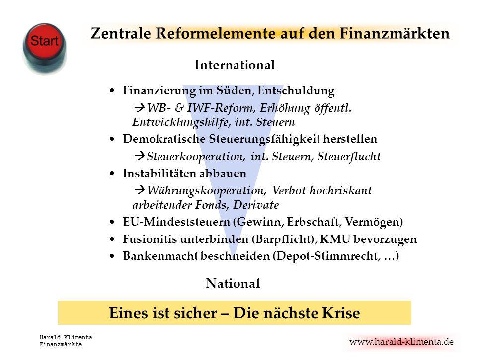 www.harald-klimenta.de Harald Klimenta Finanzmärkte Zentrale Reformelemente auf den Finanzmärkten Finanzierung im Süden, Entschuldung WB- & IWF-Reform