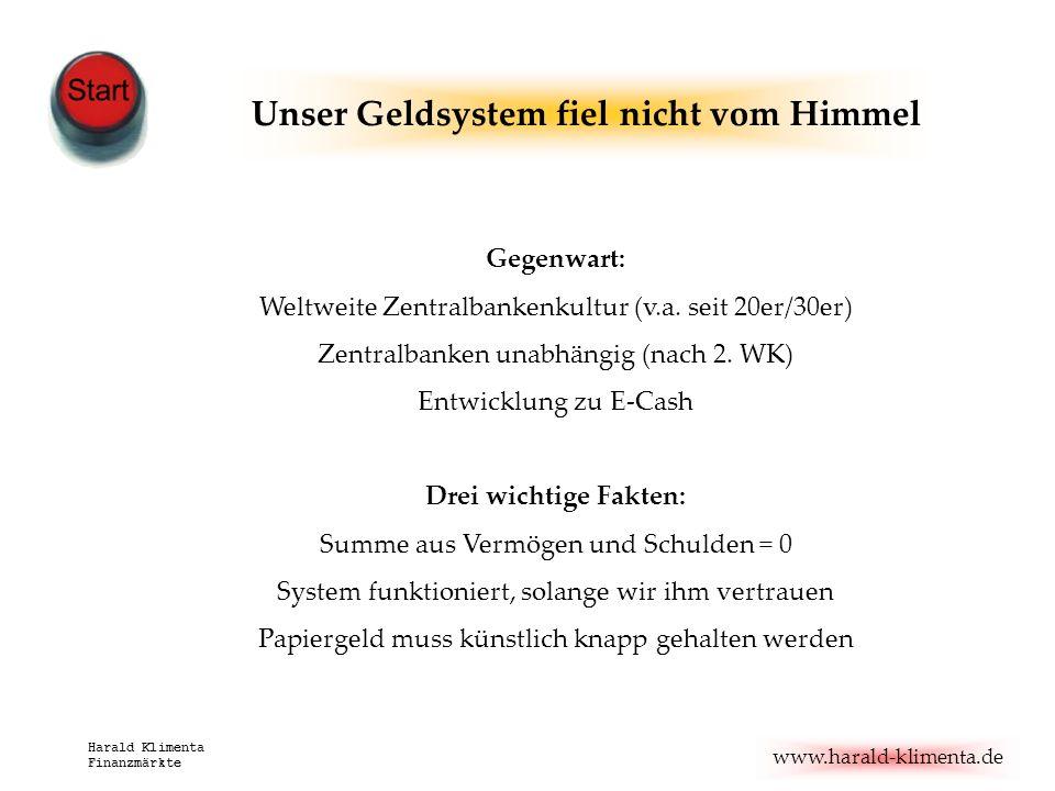 www.harald-klimenta.de Harald Klimenta Finanzmärkte Unser Geldsystem fiel nicht vom Himmel Gegenwart: Weltweite Zentralbankenkultur (v.a. seit 20er/30