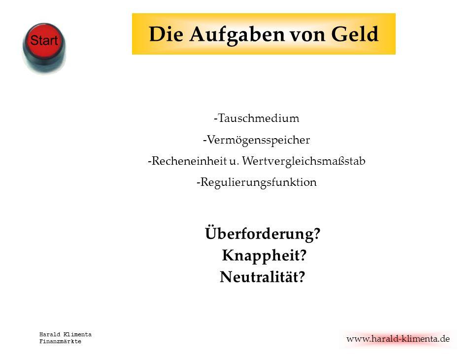 www.harald-klimenta.de Harald Klimenta Finanzmärkte Die Aufgaben von Geld -Tauschmedium -Vermögensspeicher -Recheneinheit u. Wertvergleichsmaßstab -Re