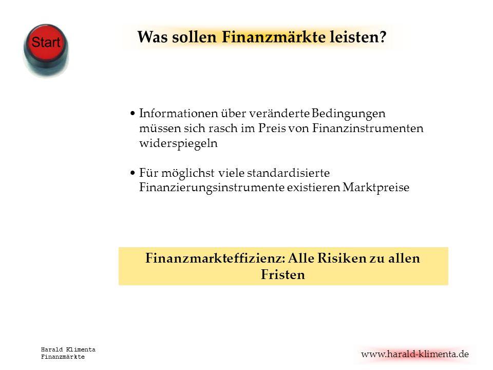 www.harald-klimenta.de Harald Klimenta Finanzmärkte Informationen über veränderte Bedingungen müssen sich rasch im Preis von Finanzinstrumenten widers