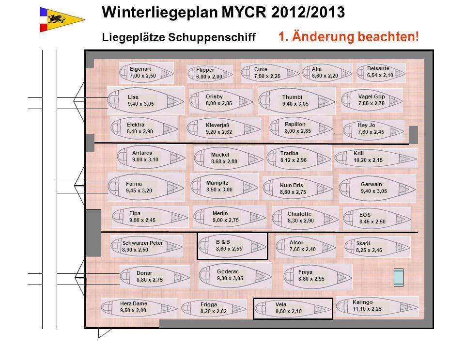 Winterliegeplan MYCR 2012/2013 Liegeplätze Schuppenschiff 1. Änderung beachten! Karingo 11,10 x 2,25 Belsante 6,54 x 2,10 Vagel Grip 7,85 x 2,75 Thumb