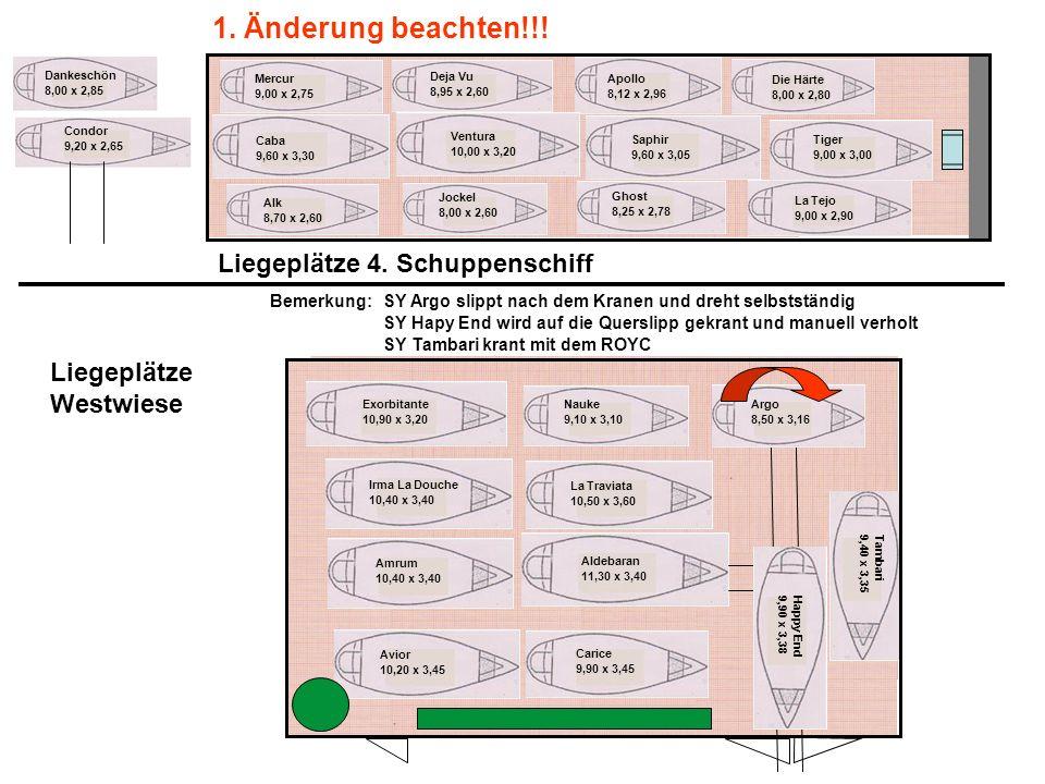 Rolus 7,50 x 2,78 Liegeplätze Parkplatz Clubhaus Jugendschuppen Repedosa 6,00 x 2,25 Suntje 7,96 x 2,65 Parkplatz MYCR Uferpromenade