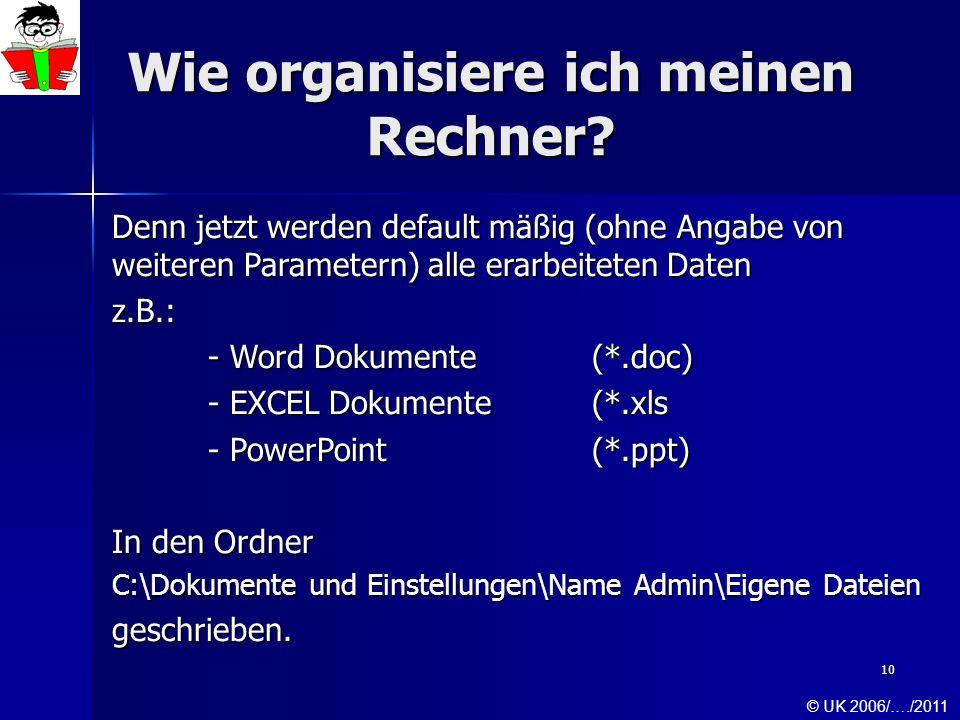 10 Wie organisiere ich meinen Rechner? Denn jetzt werden default mäßig (ohne Angabe von weiteren Parametern) alle erarbeiteten Daten z.B.: - Word Doku