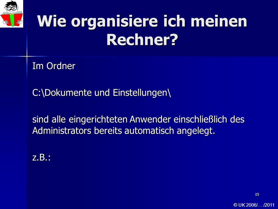 15 Wie organisiere ich meinen Rechner? Im Ordner C:\Dokumente und Einstellungen\ sind alle eingerichteten Anwender einschließlich des Administrators b
