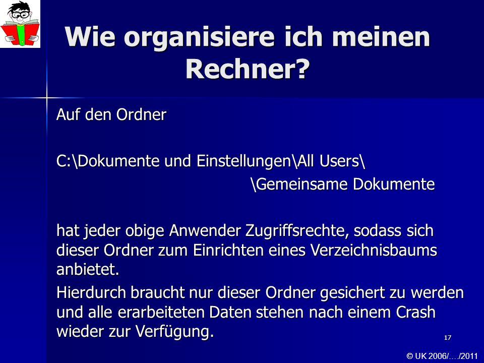 17 Wie organisiere ich meinen Rechner? Auf den Ordner C:\Dokumente und Einstellungen\All Users\ \Gemeinsame Dokumente hat jeder obige Anwender Zugriff