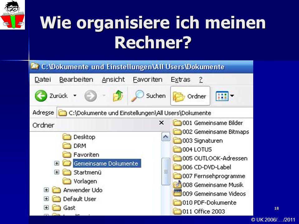 18 Wie organisiere ich meinen Rechner? © UK 2006/…./2011