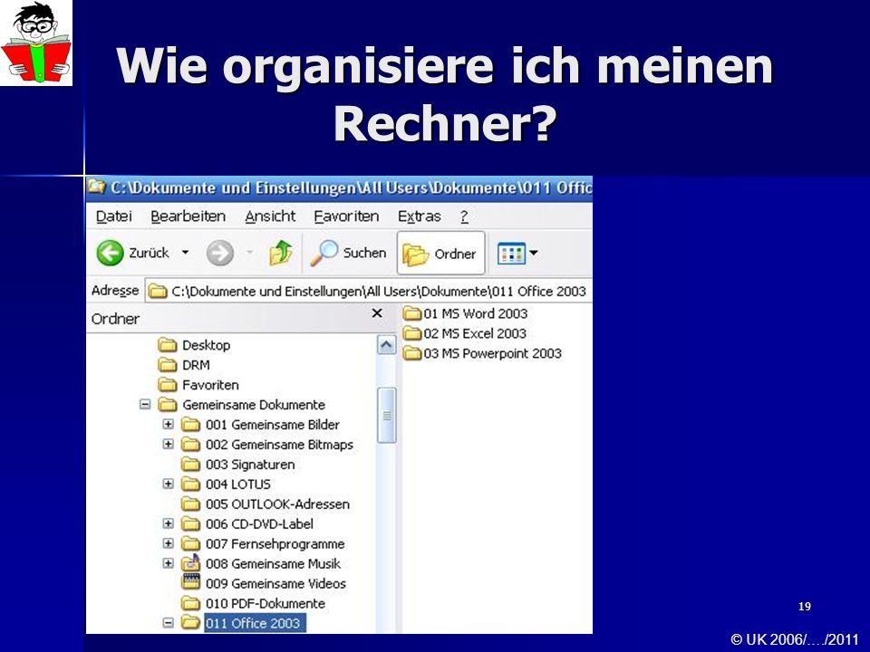 19 Wie organisiere ich meinen Rechner? © UK 2006/…./2011