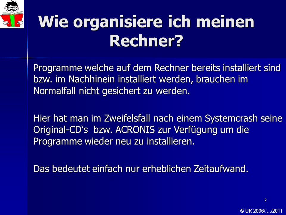2 Wie organisiere ich meinen Rechner? Programme welche auf dem Rechner bereits installiert sind bzw. im Nachhinein installiert werden, brauchen im Nor