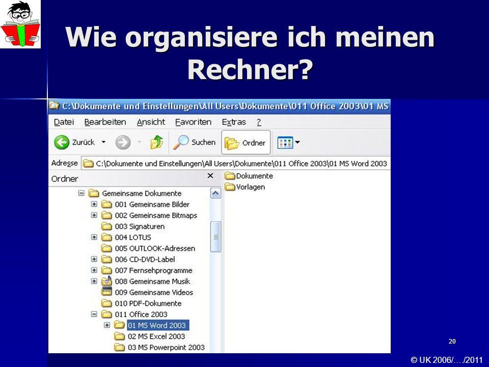 20 Wie organisiere ich meinen Rechner? © UK 2006/…./2011