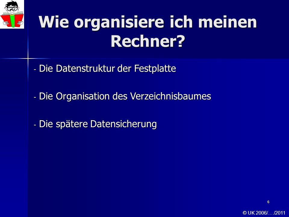 6 Wie organisiere ich meinen Rechner? - Die Datenstruktur der Festplatte - Die Organisation des Verzeichnisbaumes - Die spätere Datensicherung © UK 20