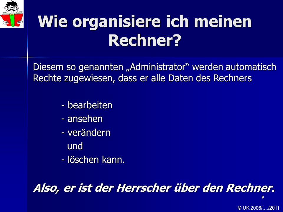 9 Wie organisiere ich meinen Rechner? Diesem so genannten Administrator werden automatisch Rechte zugewiesen, dass er alle Daten des Rechners - bearbe