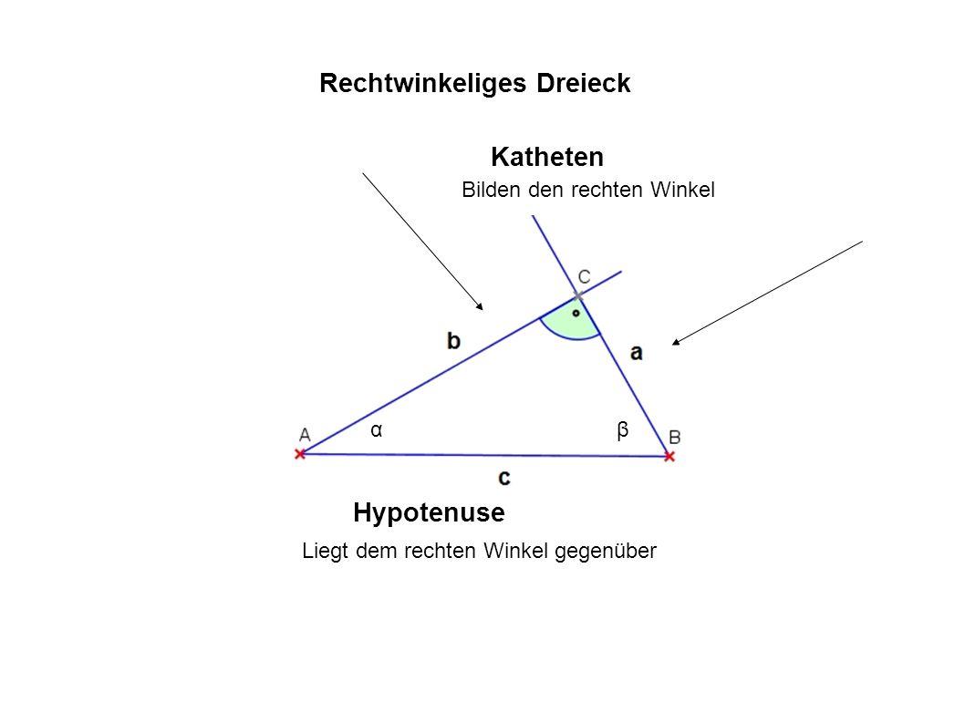 Katheten Hypotenuse Bilden den rechten Winkel Liegt dem rechten Winkel gegenüber Rechtwinkeliges Dreieck αβ