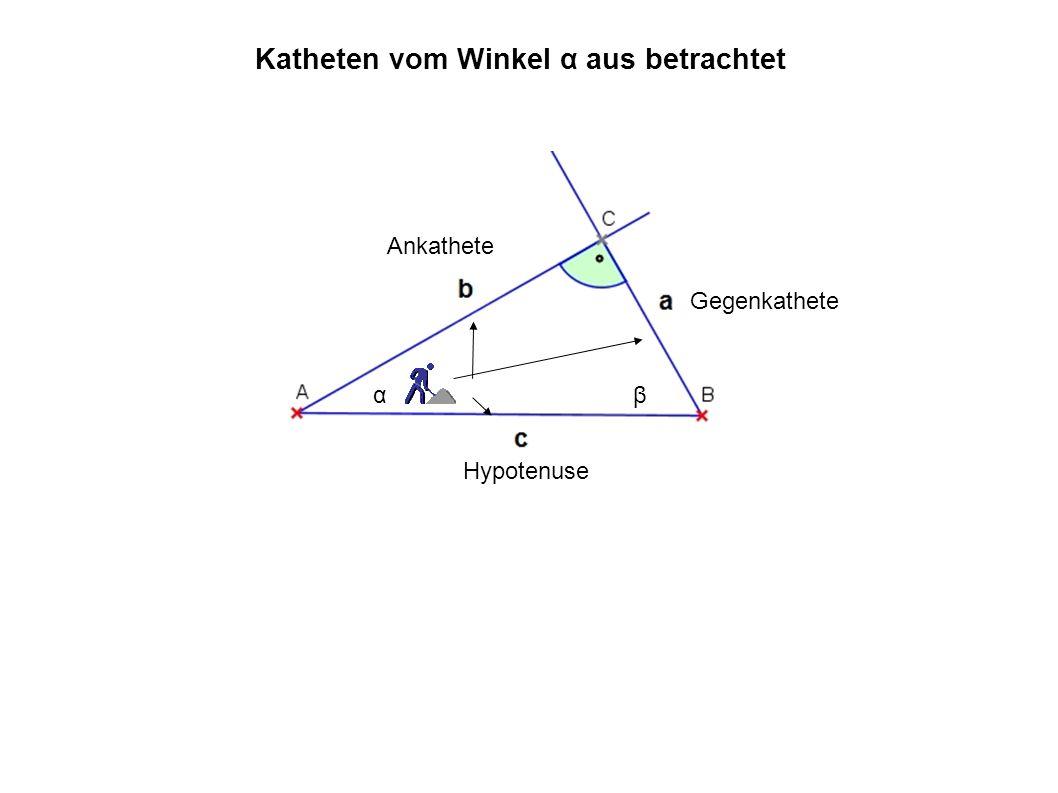 αβ Gegenkathete Ankathete Hypotenuse Katheten vom Winkel α aus betrachtet