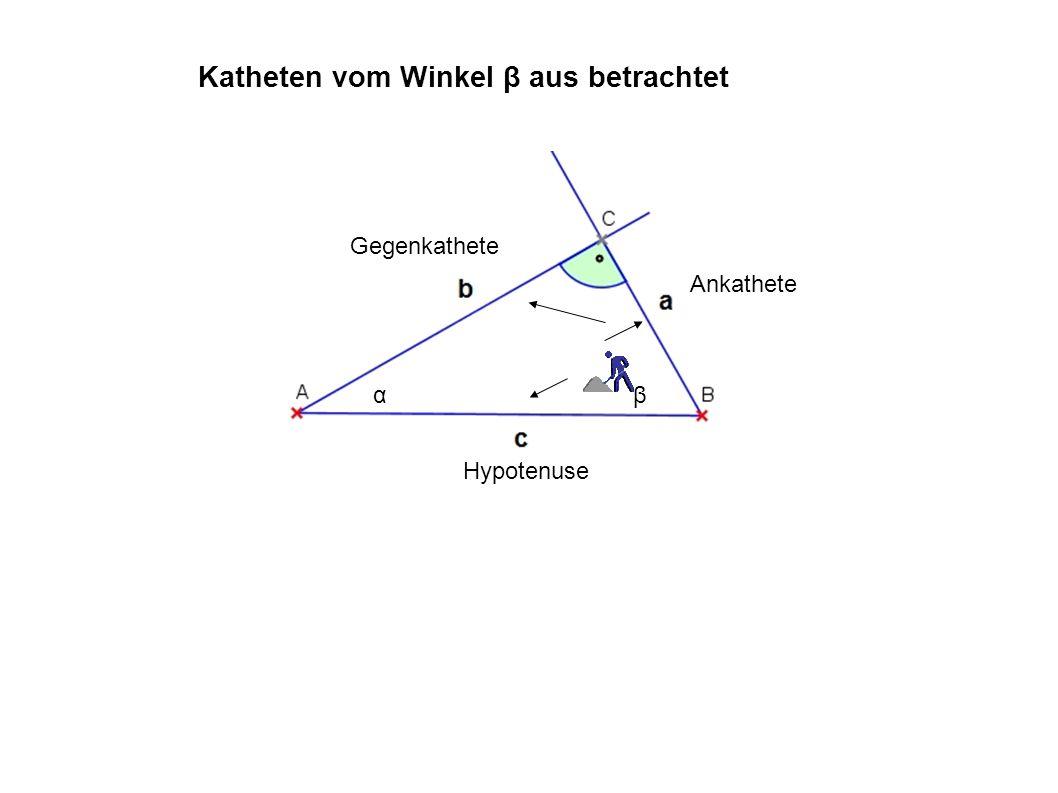 αβ Gegenkathete Ankathete Hypotenuse Sinus im rechtwinkeligen Dreieck vom Winkel α aus betrachtet sinus α = Gegenkathete Hypotenuse = a c