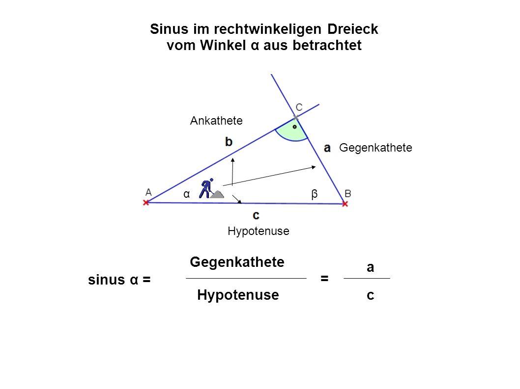 αβ Gegenkathete Ankathete Hypotenuse Sinus im rechtwinkeligen Dreieck vom Winkel ß aus betrachtet sinus β = Gegenkathete Hypotenuse = b c