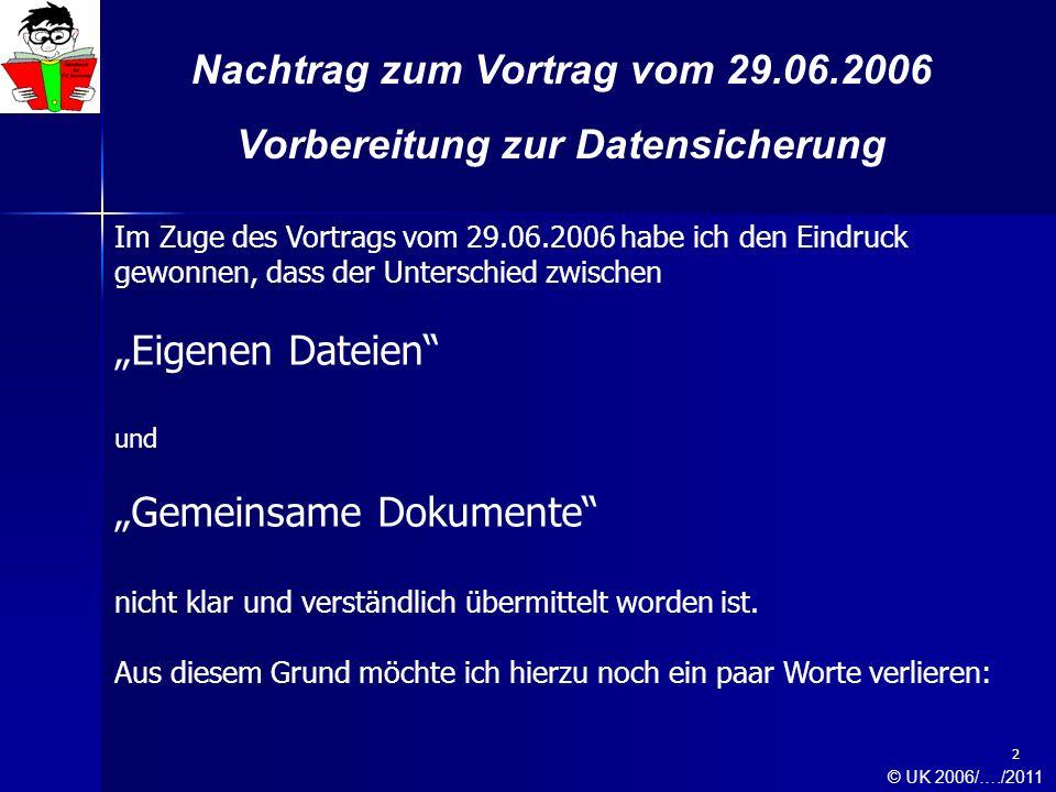 3 Nachtrag zum Vortrag vom 29.06.2006 Vorbereitung zur Datensicherung Der Hauptordner Eigene Dateien Die Unterordner von Eigene Dateien © UK 2006/…./2011
