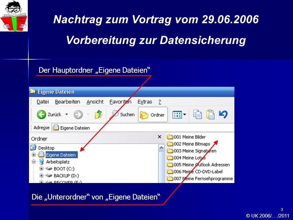 4 Nachtrag zum Vortrag vom 29.06.2006 Vorbereitung zur Datensicherung Für den Anwender ist es unerheblich, ob dieser den Hauptordner Eigene Dateien oder den Hauptordner Gemeinsame Dokumente nutzt um dort in anwendungsbezogenen Unterordnern seine erarbeiteten Daten strukturiert zu sichern.