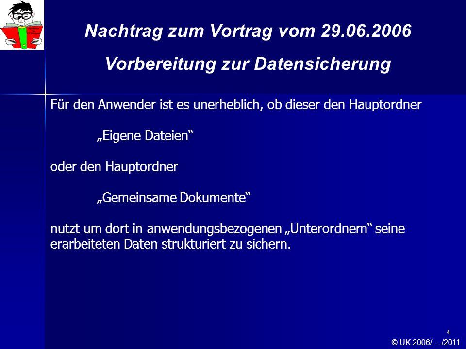 4 Nachtrag zum Vortrag vom 29.06.2006 Vorbereitung zur Datensicherung Für den Anwender ist es unerheblich, ob dieser den Hauptordner Eigene Dateien od