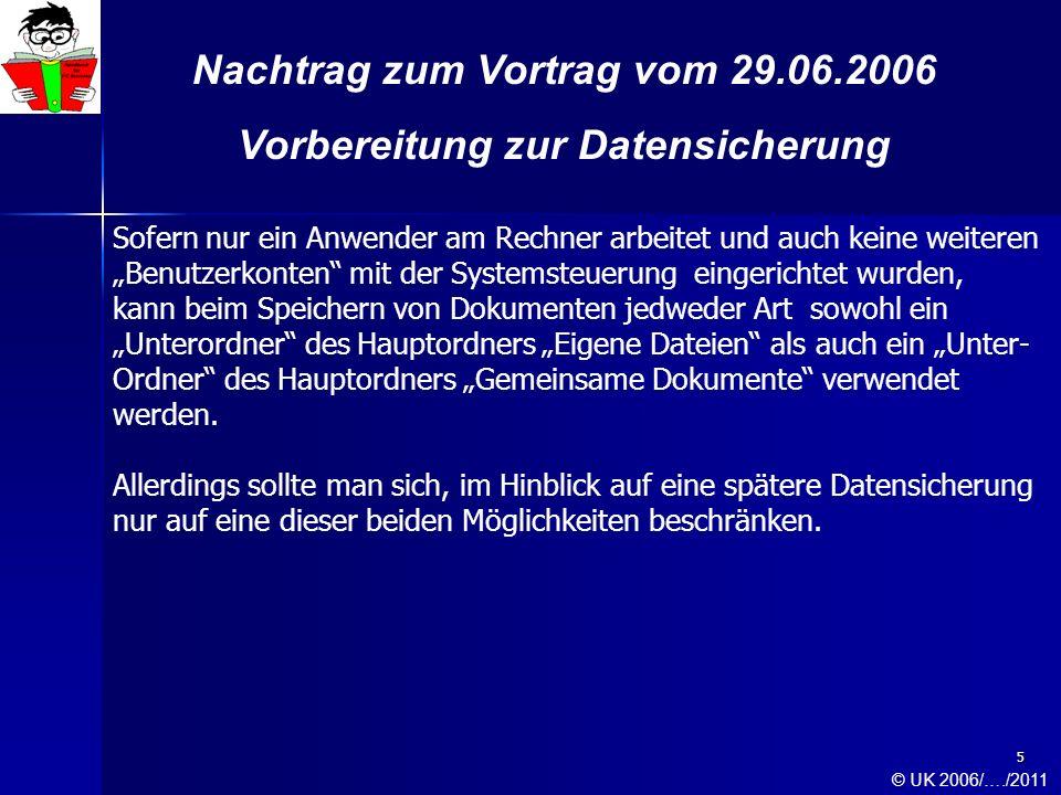 6 Nachtrag zum Vortrag vom 29.06.2006 Vorbereitung zur Datensicherung Sollten jedoch mehrere Benutzerkonten mit der Systemsteuerung eingerichtet worden sein, so ist zu beachten, dass jeder Benutzer nach dem einloggen am Rechner seinen eigenen Hauptordner Eigene Dateien besitzt.