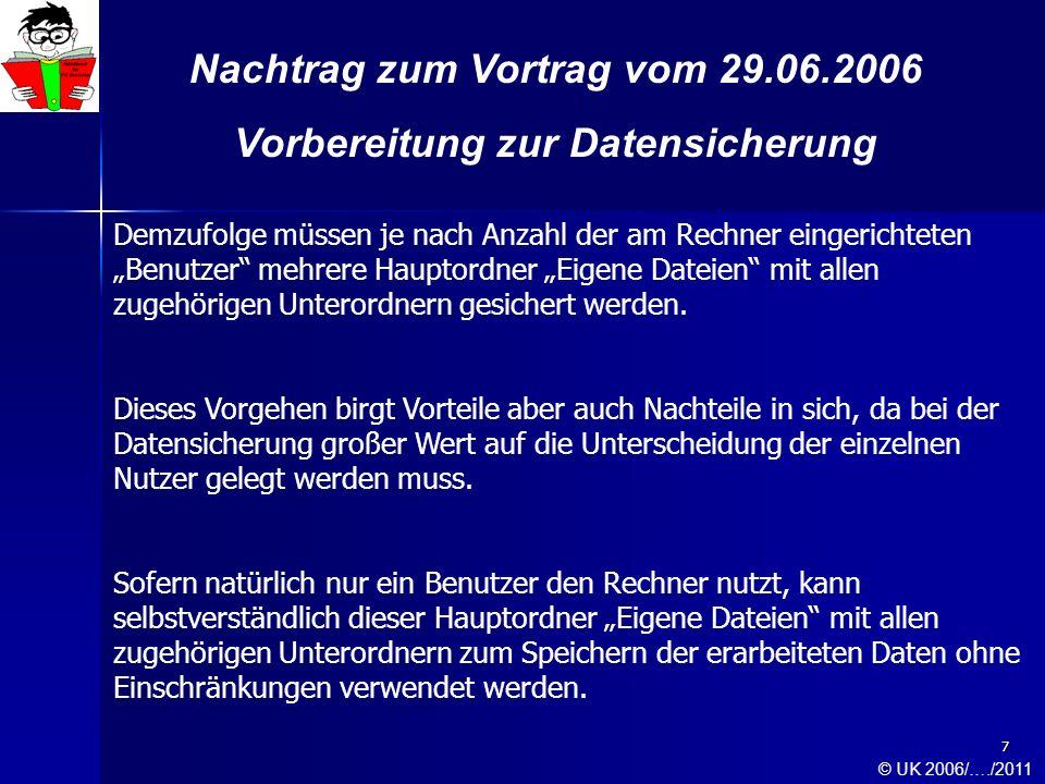 8 Nachtrag zum Vortrag vom 29.06.2006 Vorbereitung zur Datensicherung Der Hauptordner Gemeinsame Dokumente Hauptordner Gemeinsame Dokumente Die Unterordner von Gemeinsame Dokumente © UK 2006/…./2011