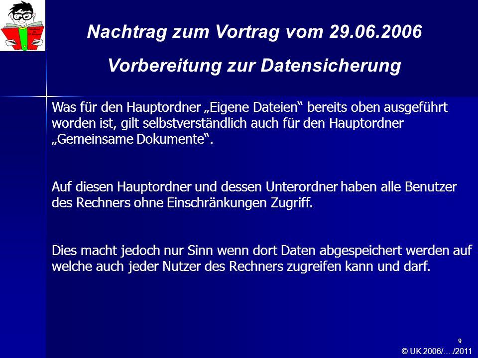 9 Nachtrag zum Vortrag vom 29.06.2006 Vorbereitung zur Datensicherung Was für den Hauptordner Eigene Dateien bereits oben ausgeführt worden ist, gilt