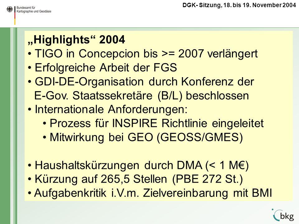 Highlights 2004 TIGO in Concepcion bis >= 2007 verlängert Erfolgreiche Arbeit der FGS GDI-DE-Organisation durch Konferenz der E-Gov. Staatssekretäre (