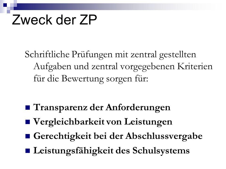 Zweck der ZP Schriftliche Prüfungen mit zentral gestellten Aufgaben und zentral vorgegebenen Kriterien für die Bewertung sorgen für: Transparenz der A