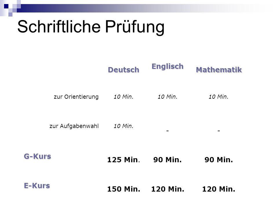Schriftliche Prüfung DeutschEnglischMathematik zur Orientierung10 Min. zur Aufgabenwahl10 Min. -- G-Kurs 125 Min.90 Min. E-Kurs 150 Min.120 Min.