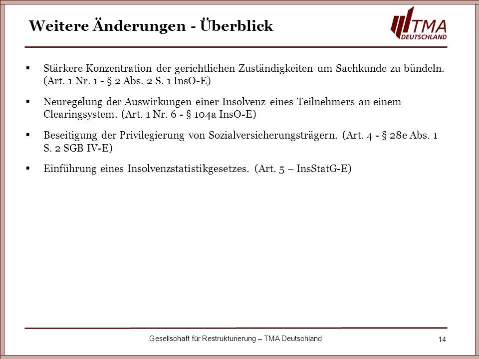 14 Gesellschaft für Restrukturierung – TMA Deutschland Weitere Änderungen - Überblick Stärkere Konzentration der gerichtlichen Zuständigkeiten um Sach