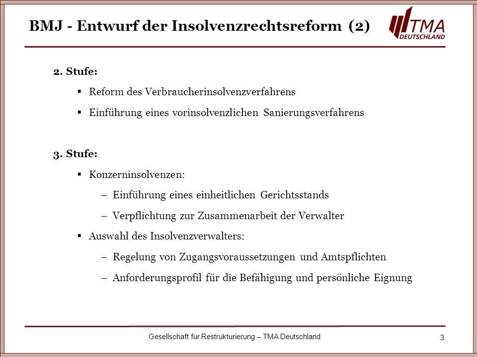 3 Gesellschaft für Restrukturierung – TMA Deutschland BMJ - Entwurf der Insolvenzrechtsreform (2) 2. Stufe: Reform des Verbraucherinsolvenzverfahrens