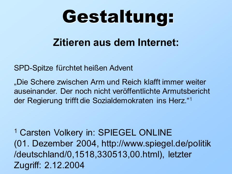 Gestaltung: Zitieren aus dem Internet: SPD-Spitze fürchtet heißen Advent Die Schere zwischen Arm und Reich klafft immer weiter auseinander. Der noch n