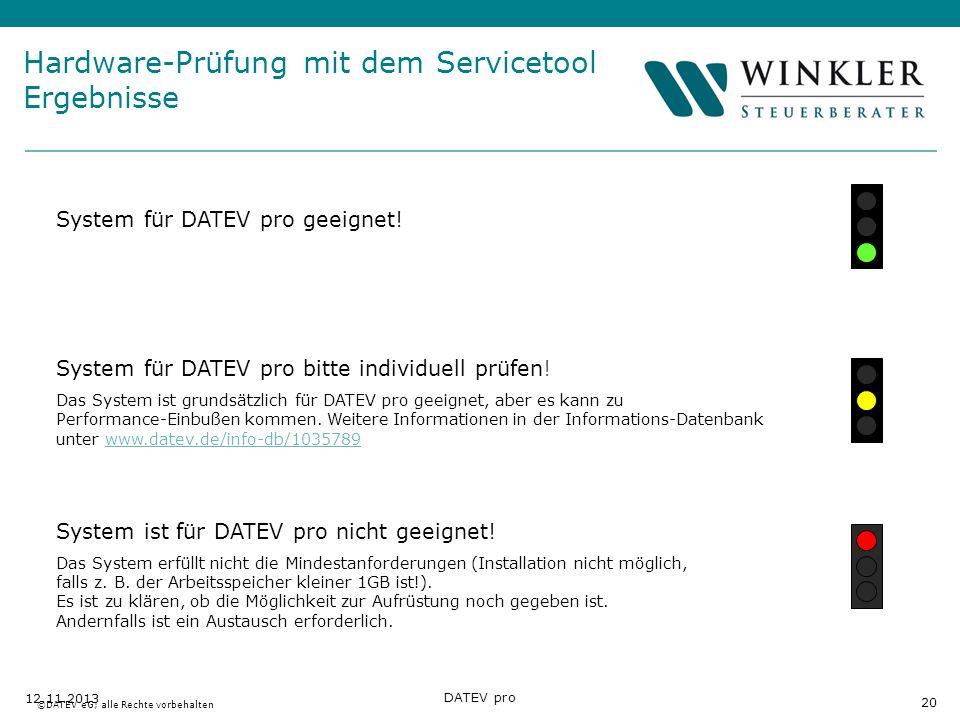 Hier Position für Kanzleilogo 20 12.11.2013 DATEV pro System für DATEV pro geeignet! System für DATEV pro bitte individuell prüfen! Das System ist gru