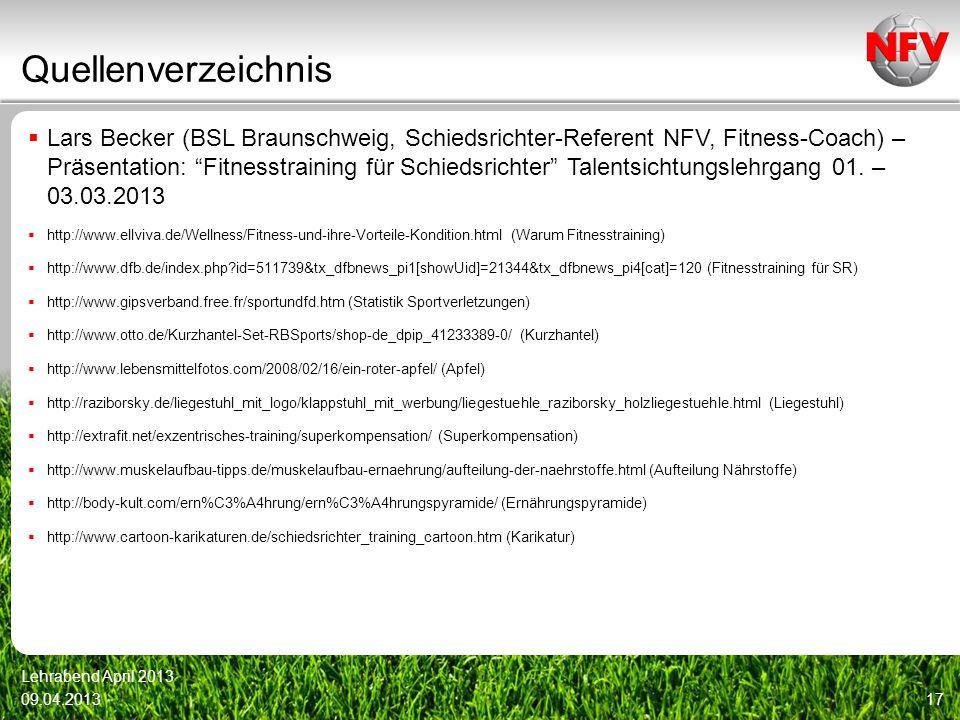 Quellenverzeichnis Lars Becker (BSL Braunschweig, Schiedsrichter-Referent NFV, Fitness-Coach) – Präsentation: Fitnesstraining für Schiedsrichter Talen