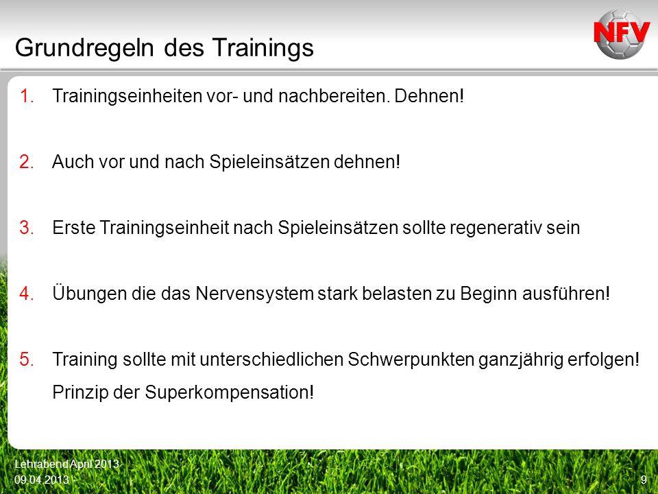 Grundregeln des Trainings 1.Trainingseinheiten vor- und nachbereiten. Dehnen! 2.Auch vor und nach Spieleinsätzen dehnen! 3.Erste Trainingseinheit nach