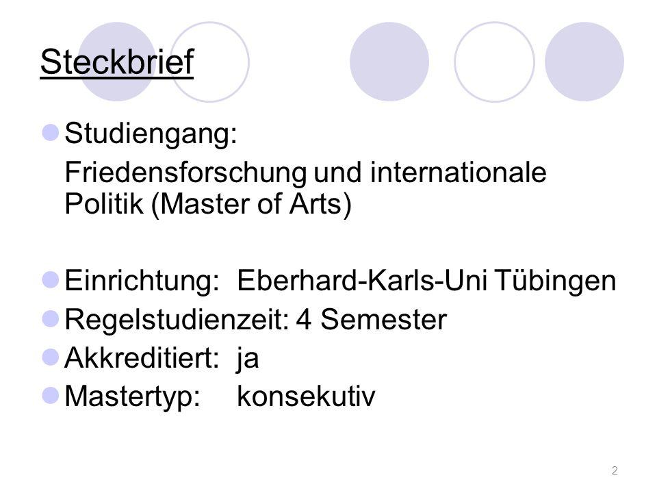 Zulassungsbestimmungen Bewerbung: örtliche Zulassungsbeschränkung Beginn: nur Wintersemester Bewerbungsschluss: 15.