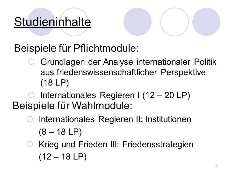 Studieninhalte Beispiele für Pflichtmodule: Grundlagen der Analyse internationaler Politik aus friedenswissenschaftlicher Perspektive (18 LP) Internat