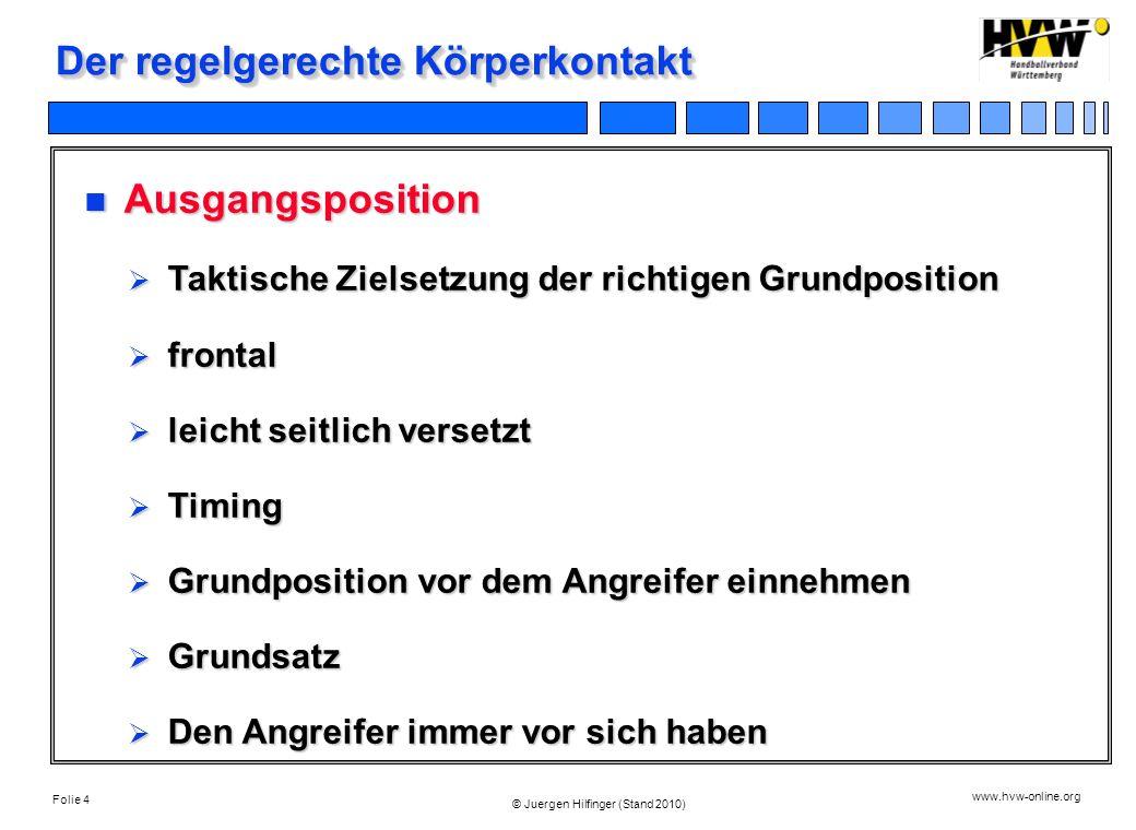 Folie 4 www.hvw-online.org © Juergen Hilfinger (Stand 2010) Der regelgerechte Körperkontakt Ausgangsposition Ausgangsposition Taktische Zielsetzung de