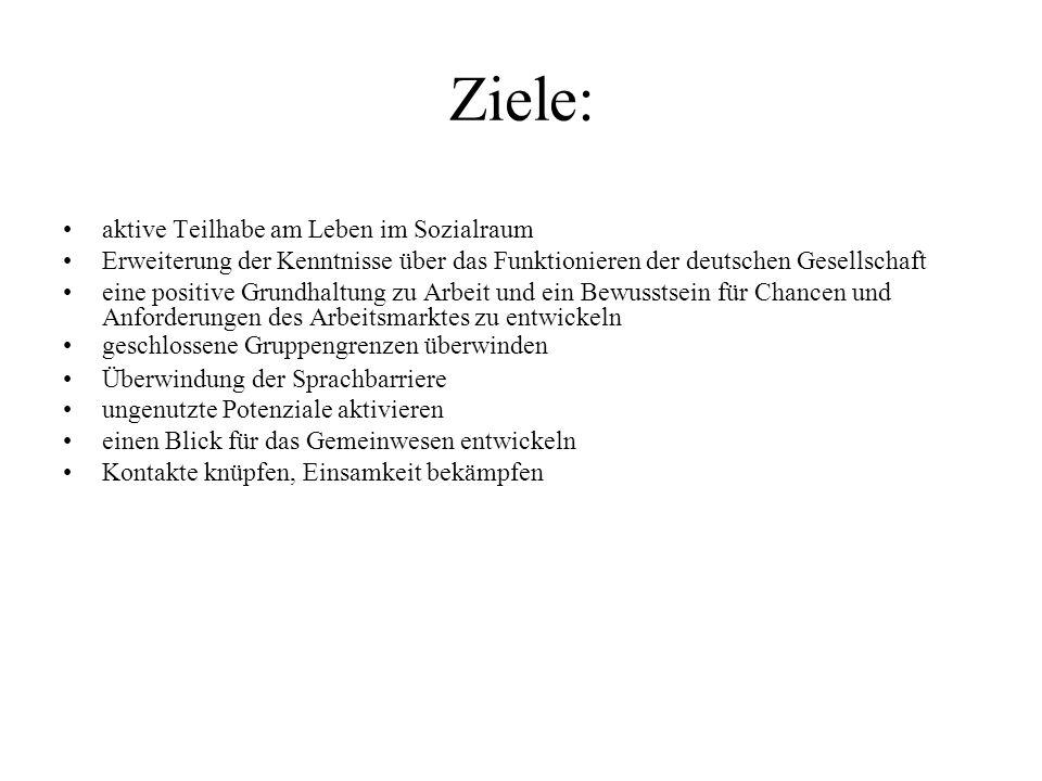 Ziele: aktive Teilhabe am Leben im Sozialraum Erweiterung der Kenntnisse über das Funktionieren der deutschen Gesellschaft eine positive Grundhaltung