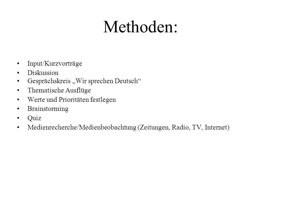 Methoden: Input/Kurzvorträge Diskussion Gesprächskreis Wir sprechen Deutsch Thematische Ausflüge Werte und Prioritäten festlegen Brainstorming Quiz Me