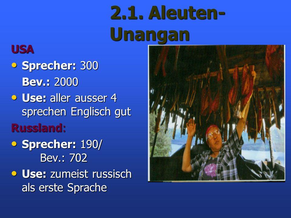 2.1. Aleuten- Unangan USA Sprecher: 300 Sprecher: 300 Bev.: 2000 Use: aller ausser 4 sprechen Englisch gut Use: aller ausser 4 sprechen Englisch gut R