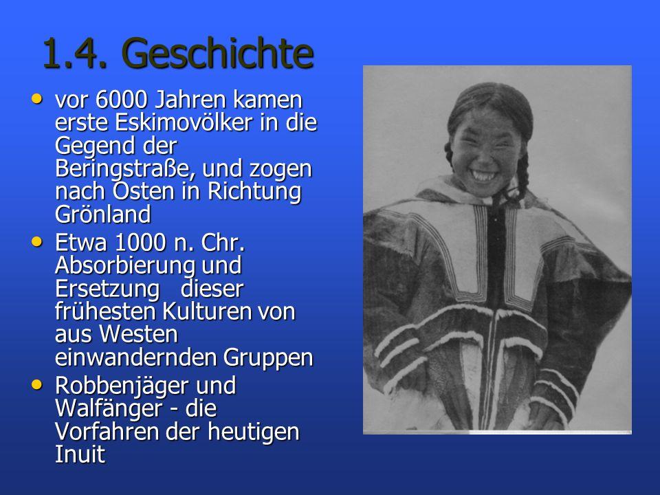 1.4. Geschichte vor 6000 Jahren kamen erste Eskimovölker in die Gegend der Beringstraße, und zogen nach Osten in Richtung Grönland vor 6000 Jahren kam