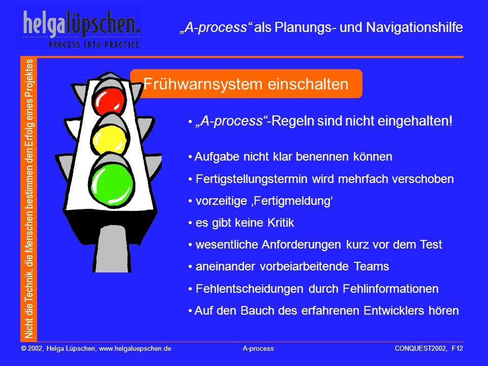 Nicht die Technik, die Menschen bestimmen den Erfolg eines Projektes © 2002, Helga Lüpschen, www.helgaluepschen.deA-processCONQUEST2002, F11 A-process