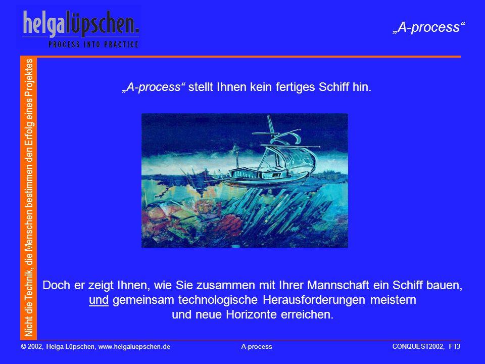 Nicht die Technik, die Menschen bestimmen den Erfolg eines Projektes © 2002, Helga Lüpschen, www.helgaluepschen.deA-processCONQUEST2002, F12 Aufgabe n