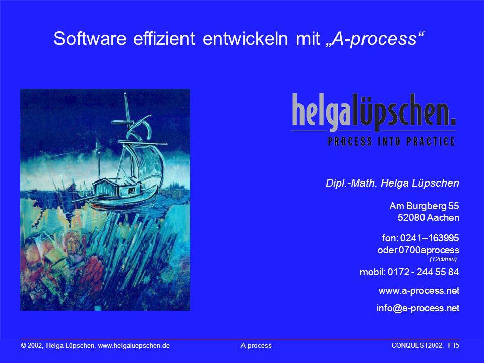 Nicht die Technik, die Menschen bestimmen den Erfolg eines Projektes © 2002, Helga Lüpschen, www.helgaluepschen.deA-processCONQUEST2002, F14 Das Buch