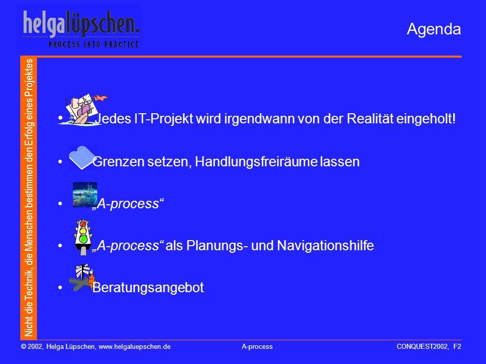 Nicht die Technik, die Menschen bestimmen den Erfolg eines Projektes © 2002, Helga Lüpschen, www.helgaluepschen.deA-processCONQUEST2002, F1 Software e