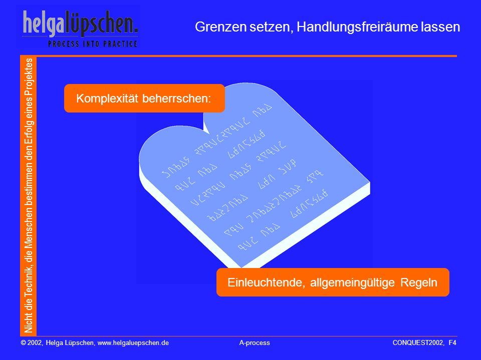 Nicht die Technik, die Menschen bestimmen den Erfolg eines Projektes © 2002, Helga Lüpschen, www.helgaluepschen.deA-processCONQUEST2002, F3 Jedes IT-P