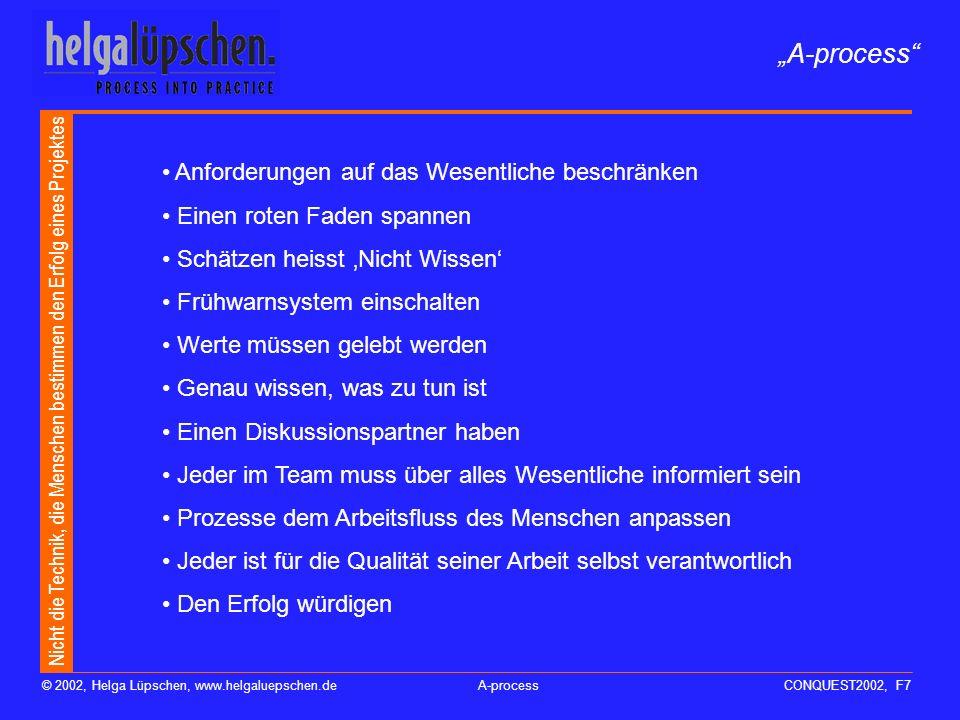 Nicht die Technik, die Menschen bestimmen den Erfolg eines Projektes © 2002, Helga Lüpschen, www.helgaluepschen.deA-processCONQUEST2002, F6 A-process