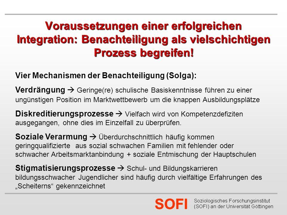 SOFI Voraussetzungen einer erfolgreichen Integration: Benachteiligung als vielschichtigen Prozess begreifen.
