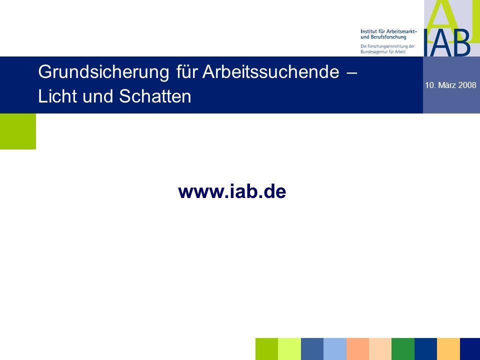 Institut für Arbeitsmarkt- und Berufsforschung 18 dgdg www.iab.de dgdg 10. März 2008 Grundsicherung für Arbeitssuchende – Licht und Schatten